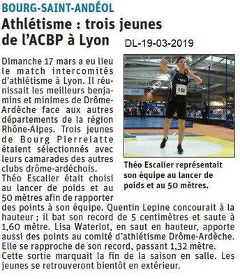 Dauphiné Libéré du 19-03-2019- à Athlétisme de BSA
