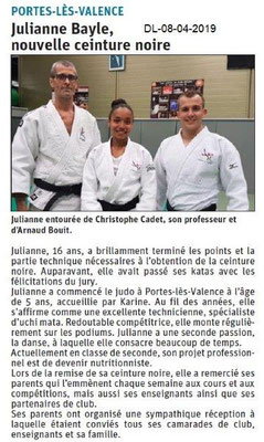 Le Dauphiné Libéré du 08-04-2019- Judo Portes