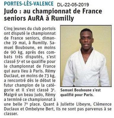 Le Dauphiné Libéré du 22-05-2019- Judo Portois