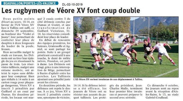 Dauphiné libéré du 02-10-2019- Rugby Véore XV