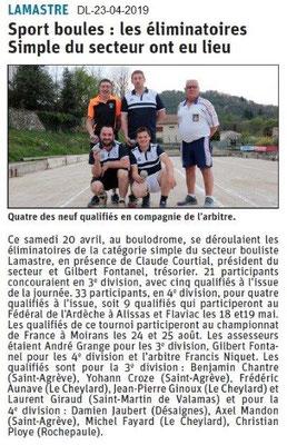 Le Dauphiné Libéré du 23-04-2019- Sport boules à Lamastre