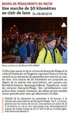 Dauphiné libéré du 09-09-2019- La Marche au Clair de Lune OSCPBourg de Péage