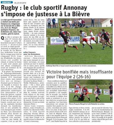 Le Dauphiné Libéré du 23-04-2019- Club de Rugby d'Annonay