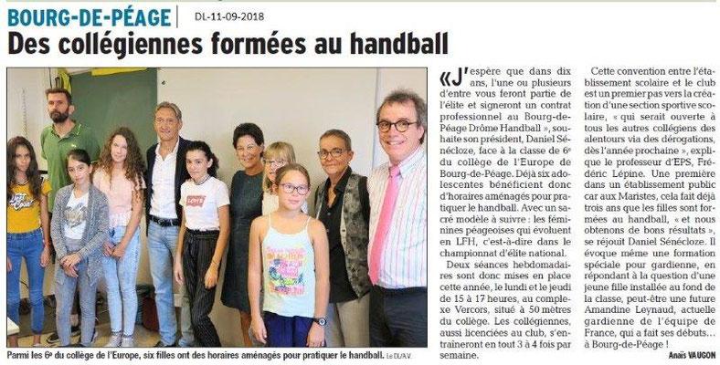 Dauphiné Libéré du 11-09-2018-  Les Futurs handballeurs à Bourg de Péage
