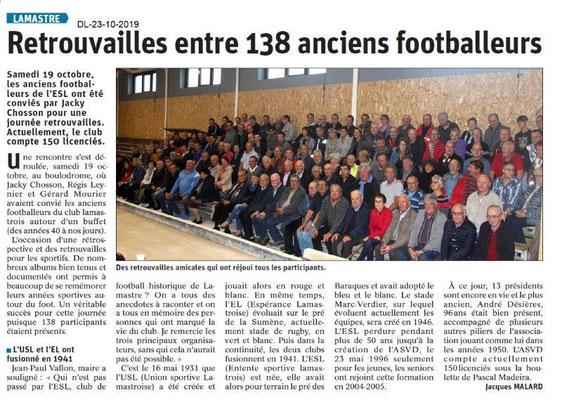 Dauphiné libéré du 23-10-2019- Les anciens footballeurs à Lamastre