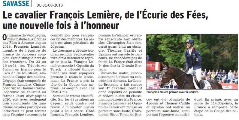 Dauphiné Libéré du 31-08-2018- L'Ecurie des Fées