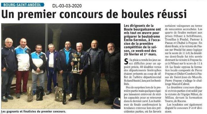 Dauphiné libéré du 03-03-2020- La Boule Bourguésanne
