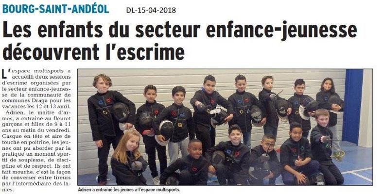 Dauphiné Libéré du 15-04-2018-Découverte de l'escrime-Bourg Saint-Andéol