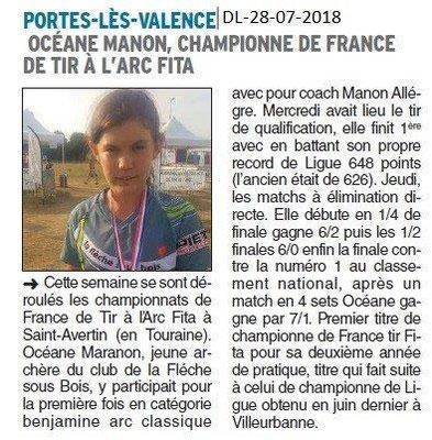 Dauphiné Libéré du 28-07-2018- Tir à l'arc FITA- Océane Manon Championne de France