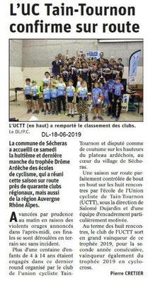 Dauphiné Libéré du 18-06-2019- Ecole de cyclisme UCTT