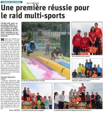 Dauphiné Libéré du 11-06-2019- Raid multisports à Tournon