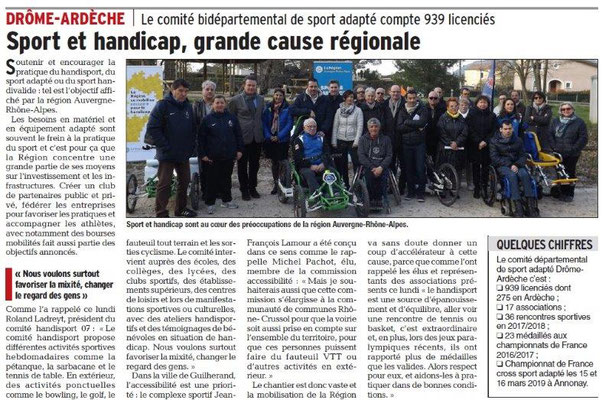Dauphiné Libéré du 27-03-2018-Comité Sport-Adapté 07-26