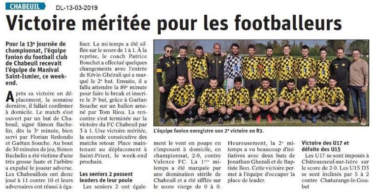 Le Dauphiné Libéré du 13-03-2019- Foot de Chabeuil