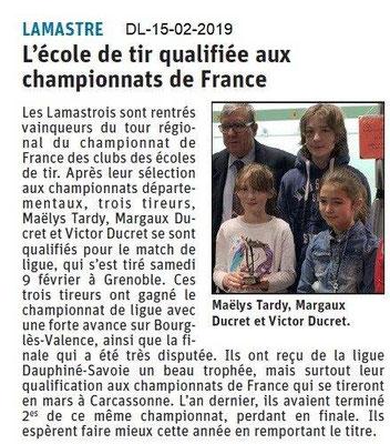 Dauphiné Libéré du 15-02-2019- Ecole de tir de Lamastre