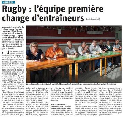 Dauphiné Libéré du 23-06-2019- Rugby de Chabeuil