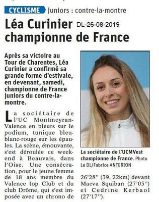 Dauphiné libéré du 26-08-2019- Cyclisme- Léa Curinier .