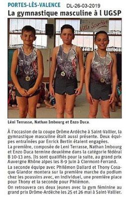 Dauphiné Libéré du 26-03-2019- UGSP Gym masculin PLV