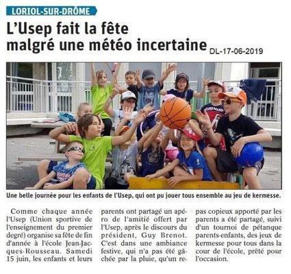 Dauphiné Libéré du 17-06-2019- L'USEP de Loriol.