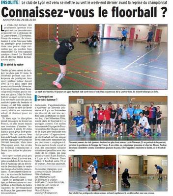 Dauphiné Libéré du -29-08-2018- Annonay-Découverte du Floorball