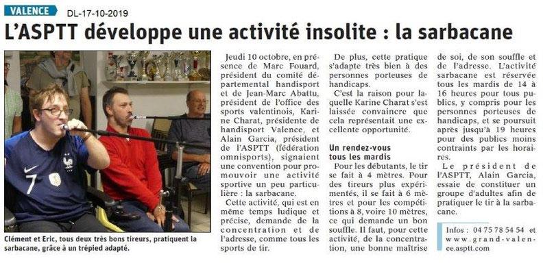 Dauphiné libéré du 17-10-2019- La sarbacane à ASPPValence