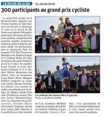 Le Dauphiné Libéré du 03-04-2019- Prix cycliste de La Roche de Glun