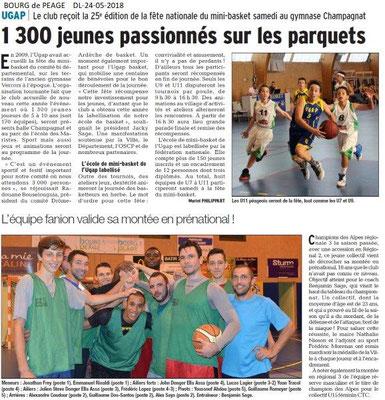Dauphiné Libéré du 24-05-2018-Basket à Bourg de Péage