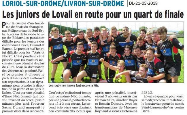 Dauphiné Libéré du 21-05-2018-Rugby juniors de Lovali- Loriol sur Drôme