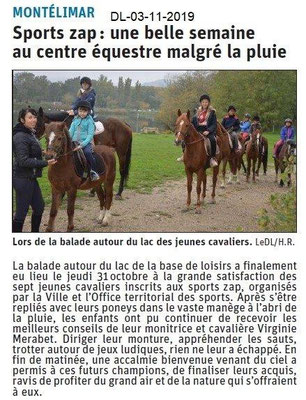 le Dauphiné Libéré du 03-11-2019- Centre équestre Sports Zap à Montélimar