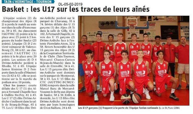 Dauphiné Libéré du 05-02-2019- Basket Tain-Tournon