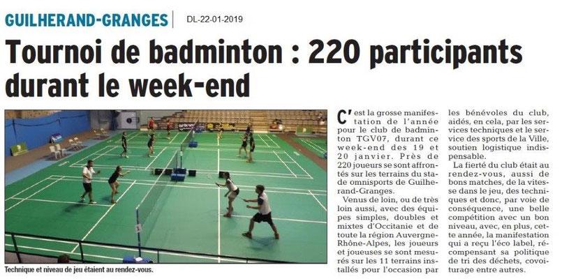 Dauphiné Libéré du 22-01-2019- Tournois de badmiton à Guilherand