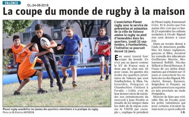 Dauphiné libéré du 24-09-2019- Rugby Planet Valence