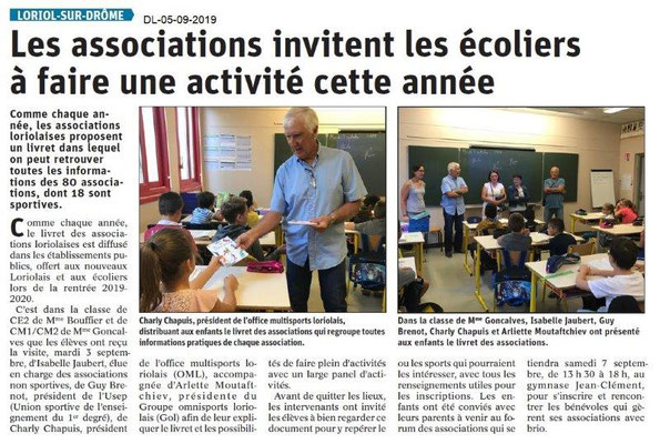 Dauphiné libéré du 05-09-2019- Infos dans les écoles- OMS de Loriol