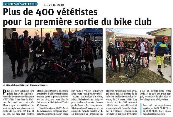 Dauphiné Libéré du 28-02-2019- Bike Club Portois