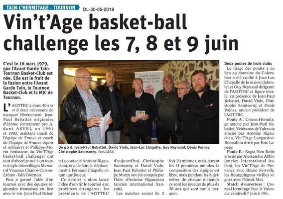 Le Dauphiné libéré du 30-05-2019- L'Avant-garde TainTournon Basket