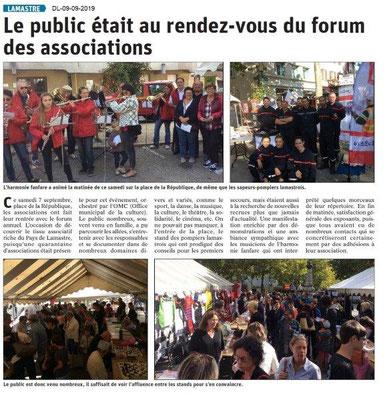 Dauphiné libéré du 09-09-2019- Forum des associations de Lamastre
