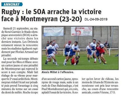 Dauphiné libéré du 24-09-2019- SOA Rugby d'Annonay