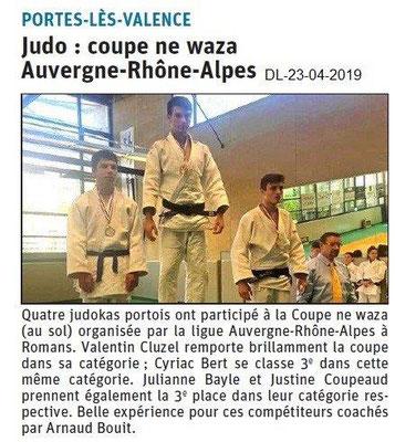Le Dauphiné Libéré du 23-04-2019- Judo portois