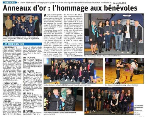 Dauphiné Libéré du 03-02-2019- Anneaux remises des Anneaux d'Or 2018