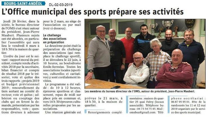 Dauphiné Libéré du 02-03-2019- OMS BSA