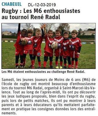 Le Dauphiné Libéré du 12-03-2019- Ecole de rugby de Chabeuil