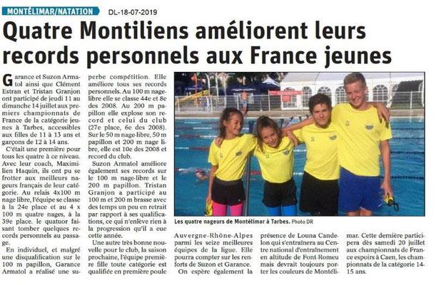 Dauphiné Libéré du 18-07-2017- Natation de Montélimar