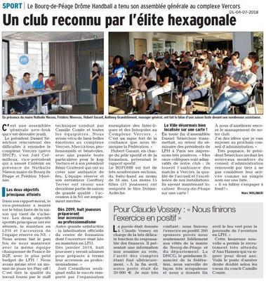 Dauphiné Libéré du 04-07-2018- Handball à Bourg de Péage