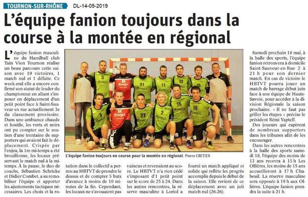 Le Dauphiné Libéré du 14-05-2019- Handball Tournon