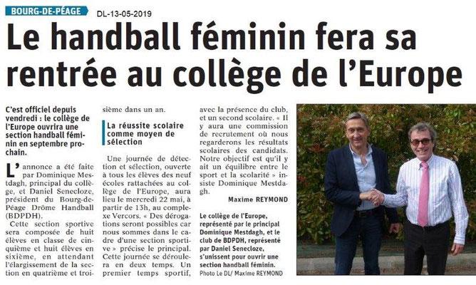Le Dauphiné Libéré du 13-05-2019- Handball au Collège à Bourg de Péage