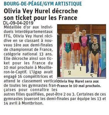 Le Dauphiné Libéré du 09-04-2019- Gym de Bourg de Péage