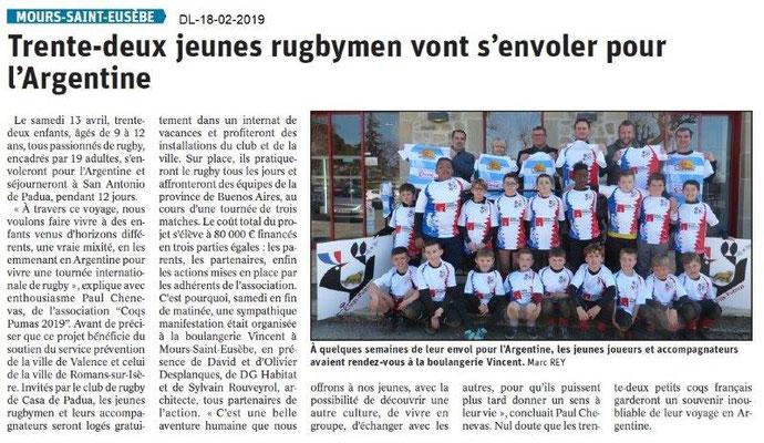 Dauphiné Libéré du 18-02-2019- Jeunes rugbymen