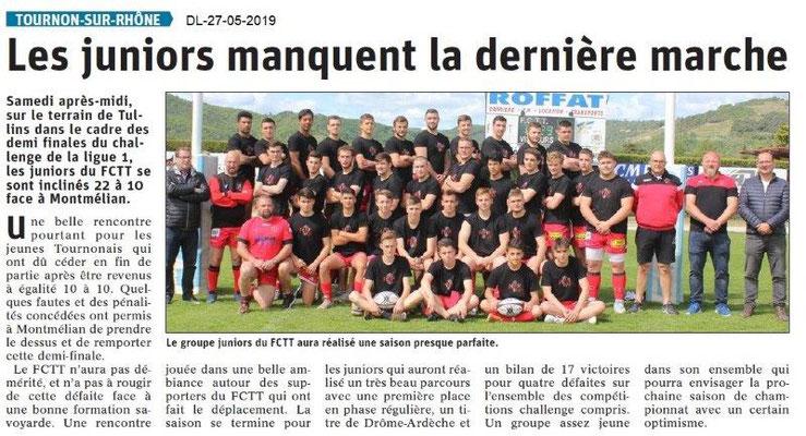 Le Dauphiné libéré du 27-05-2019- Foot Tain-Tournon
