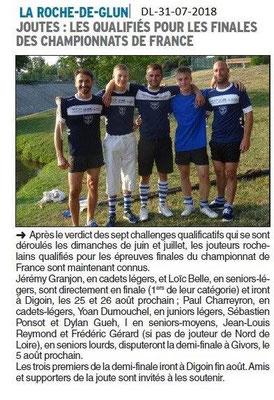 Dauphiné Libéré du 31-07-2018- Qualifiés en Joutes de La Roche de Glun