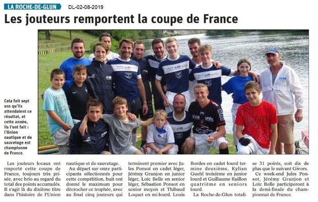 Dauphiné Libéré du 02-08-2019- Les jouteurs de La Roche de Glun