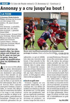 Le Dauphiné Libéré du 13-05-2019- Annonay Rugby